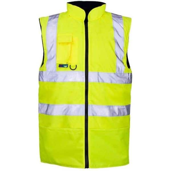 Hi Vis Reversible Fleece Lined Bodywarmer - 2XL, Yellow