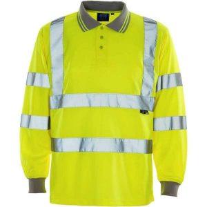 Hi Vis Yellow Long Sleeve Birds Eye Polo Shirt