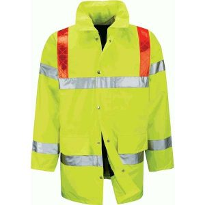 Hi Vis Tor 3/4 Length Jacket With Red Braces - 2XL, Yellow