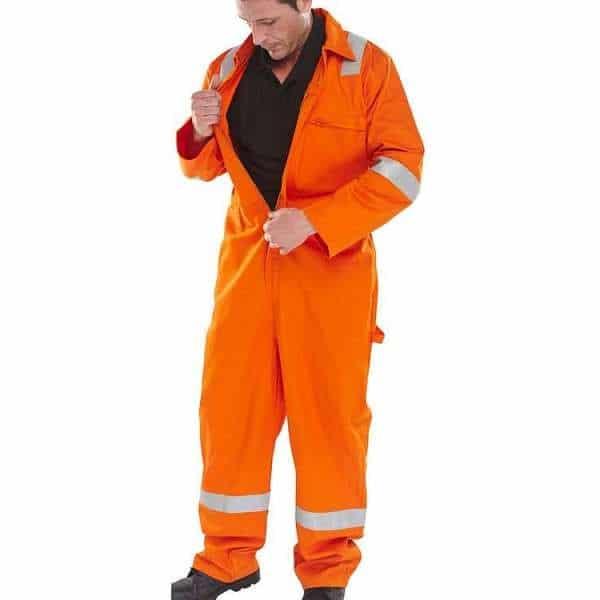Hi Vis Burgan FR Anti-Static Orange Coverall