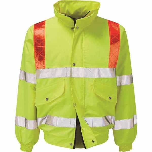 Hi Vis Foil Bomber Jacket With Red Braces - 2XL, Yellow