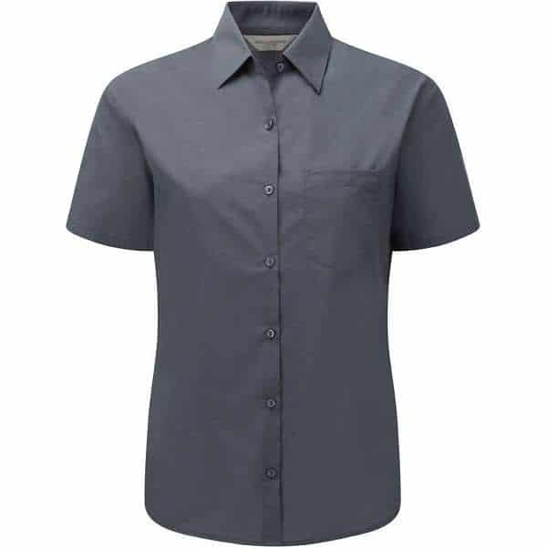 Russell Women's Cap Sleeve Polycotton Easycare Fitted Poplin Shirt (925F) - 2XL, Grey