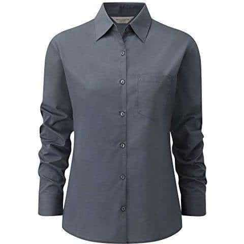 Russell Women's Long Sleeve Polycotton Easycare Fitted Poplin Shirt (924F) - 2XL, Grey