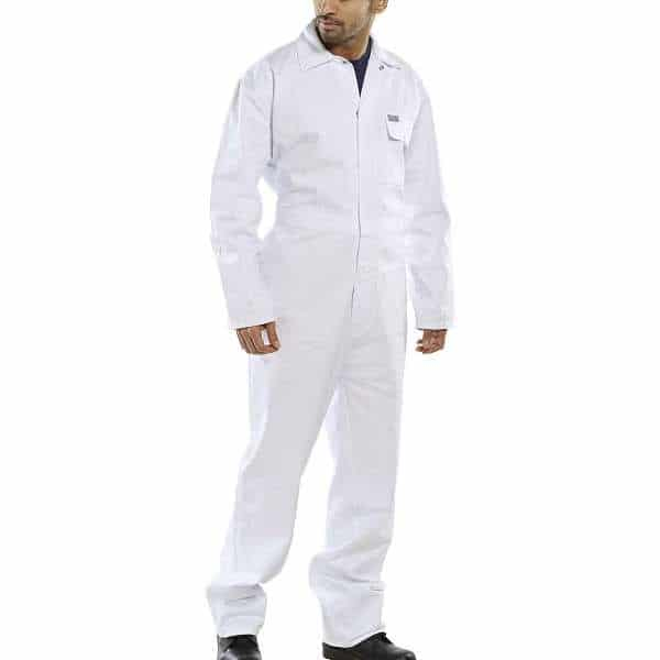 White Cotton Drill Coverall - white