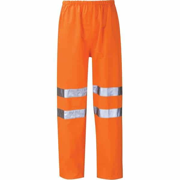 Hi Vis Thor Orange Breathable Rail Spec Over Trousers (Pro Rail Black Knight) - 2XL, Orange