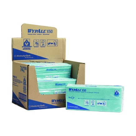 7442 Wypall X50 Cleaning Cloths - Interfold Case 6 (Green)