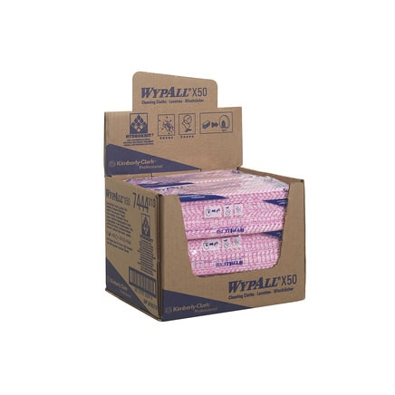 7444 Wypall X50 Cleaning Cloths - Interfold Case 6(Red)