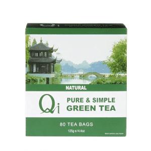 Qi Teas Green Tea Pure & Simple 80 Tea Bags