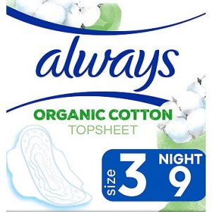 Always Organic Cotton Protection Ultra Night (Size 3) Sanitary Towels Wings 9 Pads